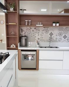 How to decorate the kitchen wall? One of the beneficial we can do is applying kitchen wallpaper. With this article will give some kitchen wallpaper ideas. Kitchen Wallpaper Design, Dining Room Wallpaper, Kitchen Room Design, Kitchen Cabinet Design, Home Decor Kitchen, Interior Design Kitchen, Kitchen Furniture, Home Kitchens, Modern Kitchen Interiors