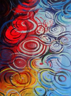 """Concentric - 18"""" x 24"""" original acrylic painting - abstract modern decorative art"""