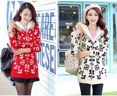TC001172 Fur collar thick sweater plus velvet coat for women