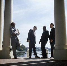 USA. 1959. The Dave Brubeck Quartet. Pianist Dave BRUBECK (left), Paul DESMOND, Eugene WRIGHT, and Joe MOR