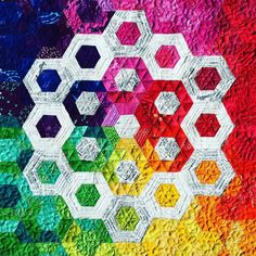 Second finish for the weekend. Finished quilting my rainbow mini. #hexies #englishpaperpiecing #rainbowmini #paperpiecingeverywhere #quiltsofinstagram #epp #fmq #freemotionquilting by donna8b