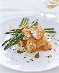 Chef Way This is Daniel Boulud& take on Wiener schnitzel, a breaded and fried veal cutlet. He lightens the dish by making it with thinly pounded monk. Chef Recipes, Wine Recipes, Seafood Recipes, Great Recipes, Cooking Recipes, Fast Recipes, Amazing Recipes, Cooking Tips, Restaurant Recipes