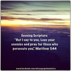 Evening Scripture: But I say to you, Love your enemies and pray for those who persecute you.. #eveningscripture  #scripturequote #biblequote #instabible #instaquote #quote #seekgod #godsword #godislove #gospel #jesus #jesussaves #teamjesus #LHBK #youthministry #preach #testify #pray #love