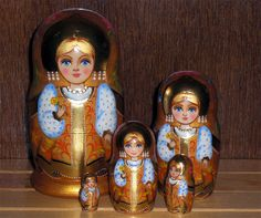 "Nesting doll ""Matryoshka - Cold talisman"". Wooden traditional russian doll. 5pcs. Lagest doll 13-14sm (5.5 inches)  by ArtBySveta on Etsy https://www.etsy.com/listing/244069934/nesting-doll-matryoshka-cold-talisman"