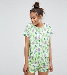 9c6520db70129 ASOS TALL Cactus Tee & Short Pajama Set - Multi Pajama Bottoms, Pajama  Shorts,