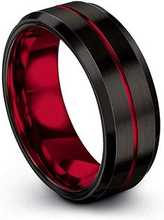 Chroma Color Collection Tungsten Carbide Wedding Band Ring for Men Women Red Interior with Red Center Line Dome Black Grey Brushed Polished Comfort Fit Anniversary Size Unique Wedding Bands, Wedding Rings For Women, Wedding Ring Bands, Rings For Men, Gold Wedding, Bridal Rings, Tungsten Carbide Wedding Bands, Copper Jewelry, Purple And Black