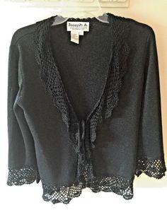 Joseph A QuEst CE Que CEst Silk Black Shimmer Crochet Trim Tie Fron...