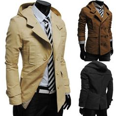New Mens Fashion Casual Double Breasted Trench Slim Fit Long Coat Hoodies Jacket   eBay