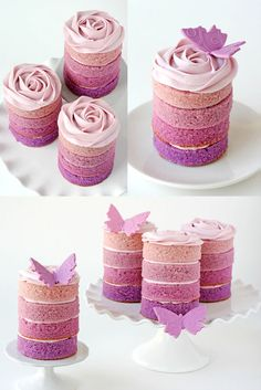 Someone wants to make these for me for Hannah's bday, I'm sure....Ombre-Cake purple & pink with butterfly frosting wow!