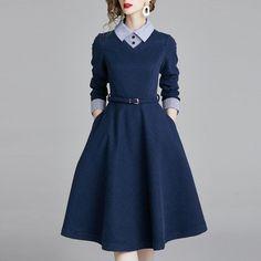 outfit Autumn and winter shirt collar commuter series dress skirt British wind Vestidos Vintage, Vintage Dresses, Vintage Outfits, Fashion Vintage, Vintage Skirt, Casual Dresses For Women, Cute Dresses, Dresses For Work, Simple Dresses