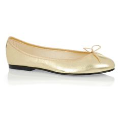 6113a75f3c346 French Sole India Gold Leather Ballet Pumps, Gold trim £90.00 Gold Ballet  Flats,