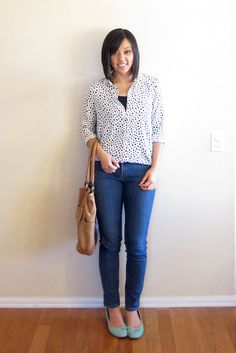 Polka dot shirt with cami under and jeans
