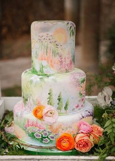 The Best Hand Painted Wedding Cakes | See them all on http://www.onefabday.com