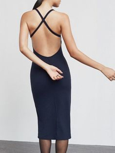 The Pixel Dress is a medium weight ribbed jersey dress that hits about knee length. It's got a high neckline, thin criss cross straps Classy Chic, Fancy Pants, Reformation, Fashion Outfits, Womens Fashion, Who What Wear, Beautiful Dresses, Sexy, Street Style