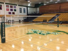 Another look at the game day set up on Billy Key Court in the Gale Bullman Multipurpose Bldg. Volleyball Net, Tape, Backgrounds, Exterior, Key, Luxury, School, Building, Blue Prints