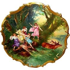 """Extraordinary 15 ' 1/2'\"""" Limoges Porcelain Plaque / Charger ~ Hand Painted with Allegorical Scene of Women Hunting Elk ~ Signed Dubois ~ Lazeyras Rosenfeld & Lehman  early 1900''s"""