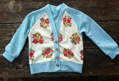Mint Floral Toddler Cardigan handmade sweater girl by yorkpatty, $38.00
