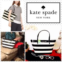"""Kate Spade Penn Valley Sophie Black Cream Stripes Kate Spade penn valley sophie tote. black and cream classy stripes. love this handbag!! my security blanket, my way-more-than-an-accessory accessory! 10.5""""h x 15.5""""w x 6.6""""d; drop length: 8.3"""". MATERIAL: patent pvc glossy high quality durable easy to clean with 14-karat light gold plated hardware; zip top closure,  dual interior slide pockets. pink beautiful inside kate spade lining! NO TRADE. THIS IS A SIGNATURE HAND BAG!! kate spade Bags…"""