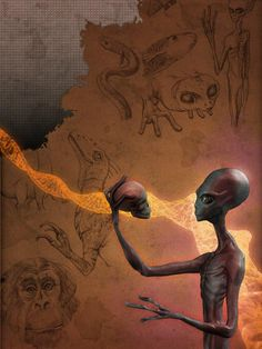 Do the Evolution love you , peeps, Do the Evolution by ralphdamiani Digital Art / Drawings Paintings / ralphdamiani* from deviant art . Ancient Aliens, Aliens And Ufos, Alien Gris, Grey Alien, Arte Sci Fi, Sci Fi Art, Do The Evolution, Area 51, Alien Photos