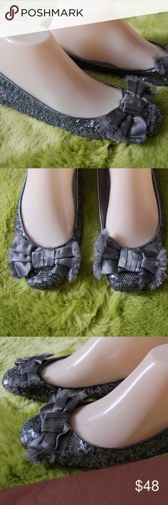 Kate Spade Silver Sequin Frayed Bow Ballet Flats 8 Kate Spade Silver Sequin Frayed Bow Ballet Flats Size 8M Lightweight flats Good condition Shows normal wear on bottom soles. Some wear on very back bottom heels from normal wear kate spade Shoes Flats & Loafers