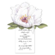 A beautiful white peony cutout is tied to a petite ivory card with a pretty ivory ribbon. Use this blooming card as an invitation to a casual garden party or bridal shower. 80th Birthday Invitations, Party Invitations, Invites, Moving Announcements, Flower Invitation, White Peonies, Personalized Stationery, Bridal Shower, Bloom
