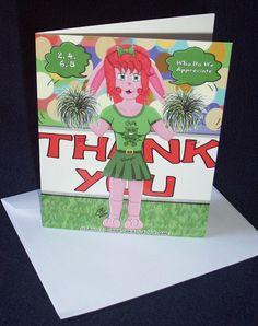Cheerleader Usagi Thank You Greetings Cards by CarasCreationsUK