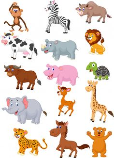 Find Wild Animal Cartoon Collection stock images in HD and millions of other royalty-free stock photos, illustrations and vectors in the Shutterstock collection. Jungle Animals, Baby Animals, Cute Animals, Animal Pictures For Kids, Flashcards For Kids, Photo Images, Animals Images, Animal Drawings, Dog Cat