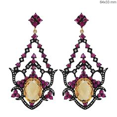 Ruby Gemstone Citrine Diamond Sterling Silver Dangle Earrings 14 K Gold Jewelry #Handmade #DropDangle