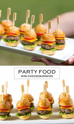 Last Minute Party Foods - Mini Cheeseburgers - Easy To .- Last Minute Party Foods – Mini Cheeseburger – Simple Appetizers, Simple Snacks, I … – - Finger Food Appetizers, Appetizers For Party, Appetizer Recipes, Party Recipes, Simple Appetizers, Healthy Appetizers, Party Finger Foods, Dinner Recipes, Cheap Finger Foods