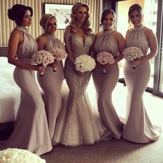 Beaded Halter Long Jersey Backless Mermaid Bridesmaid Dresses For Wedding Party