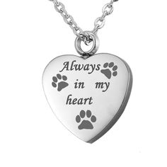 VALYRIA Memorial Always in my heart Pet Paw Cremation Urn Pendant Keepsake Ashes Necklace >>> Be sure to check out this awesome product. #MyCat