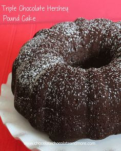 Triple Chocolate Hershey Pound Cake-rich and moist, 3 types of Hershey's Chocolate make this the best chocolate cake ever!