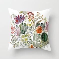 Succulents  Throw Pillow by Hannah Margaret Illustrations
