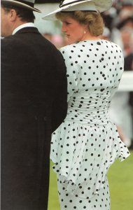 The Princess of Wales attends for the first time the famous Epsom Derby in June 1986.