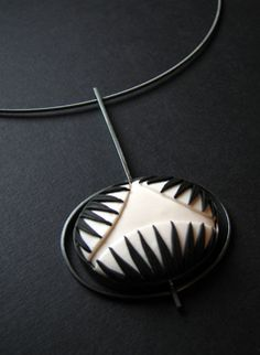 Black and White Series Pendant - Oxidized Sterling Silver and Polymer Clay www.gracestokesdesigns.com