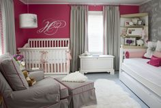 Raspberry and grey nursery. Love the twin bed either for mom or dad to crash in for 2 am feedings or for a big sister. Too cute