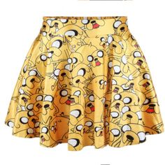 Adventure Time Skirt Jake Skirt Dance Wear Rave Wear Rainbow Serpent... ($22) ❤ liked on Polyvore featuring skirts, silver, women's clothing, yellow knee length skirt, yellow skirt, rainbow skirt and beige skirt