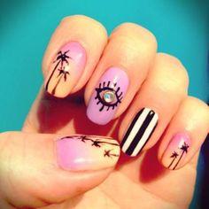 Image for Nail Trends Nail Art Nail Designs Summer Nails Summer Nail Hot Nails, Hair And Nails, Uñas Color Neon, Shellac, Nail Art Designs, Toe Designs, Palm Tree Nails, Pink Ombre Nails, Cute Summer Nails