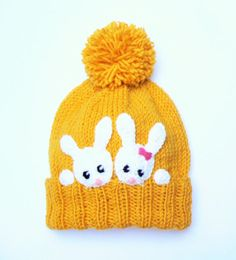 Baby Knitting Patterns Beanie Kids Bunny Hat Knit Rabbit hat Girls Winter Spring Beanie by Bonnet Crochet, Crochet Bunny, Crochet Hats, Kids Winter Hats, Kids Hats, Knitting Projects, Knitting Patterns, Knitted Hats Kids, Bunny Hat
