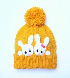 Kids Bunny Hat Knit Rabbit hat Girls Winter Spring Beanie by 2mice
