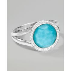 Ippolita Stella Mini Lollipop Ring in Turquoise Doublet with Diamonds,... ($650) ❤ liked on Polyvore