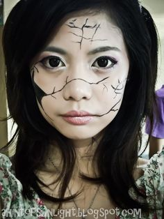 Halloween Make-up Experiments: Broken Doll and Badly-burnt Face