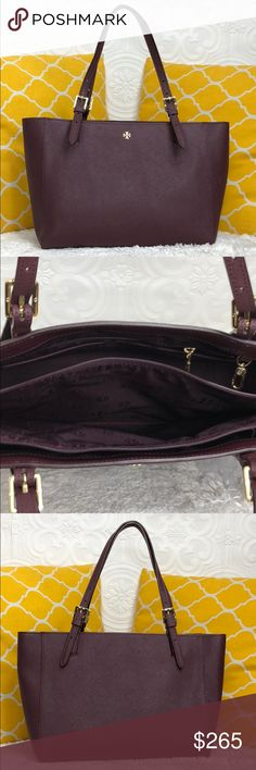 """🌸OFFERS?🌸Tory Burch All Leather Burgundy Tote 🌷Authentic🌷Excellent shape. Minimal sign of use. All parts present and functional. Features top handle, 3 main compartments center zip and 5 pockets inside. A decent size tote doesn't look big to carry but is roomy. Great for work/school/travel or everyday purse. Carry it by hand/arm or shoulder. Gorgeous color! Don't be shy to make an offer💕Dimensions: L15"""" H9"""" Bottom Width5"""" Handle Drop8.5"""" ✨Feel free to bundle with other purse✨ Tory Burch…"""