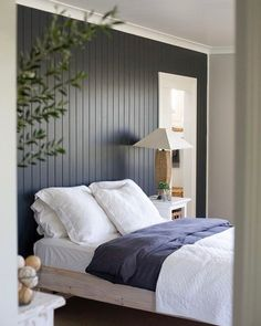 Painted wood accent wall behind bed - Love these colors for the master bedroom! Home Bedroom, Bedroom Decor, Bedroom Ideas, Bedroom Designs, Bedroom Small, Bedroom Modern, Gray Bedroom, Trendy Bedroom, Master Bedrooms
