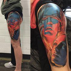 Fullcolor Tattoo, realistic, woman, tattoos on leg