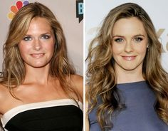 Maggie Lawson vs. Alicia Silverstone  'Psych' star Maggie Lawson and Alicia Silverstone could easily be secret fraternal twins. Celebrity Doppelganger, Celebrity Look, Maggie Lawson, Alicia Silverstone, Angela Lansbury, Mane Event, Before After Photo, Amy Adams, Look Alike