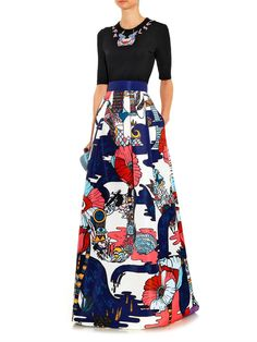 Mary Katrantzou Midlar Poppies Liquorice-print skirt
