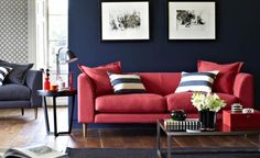 lovehome.co.uk - Margot three seat sofa in Coral house textured cotton
