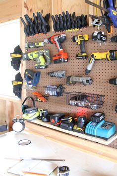 Much as a I dislike open storage for its dust-collecting prowess, it is wonderful to grab a drill off the wall.