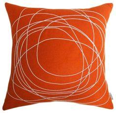 Bholu Nimboo Cushion - Orange - Small modern pillows